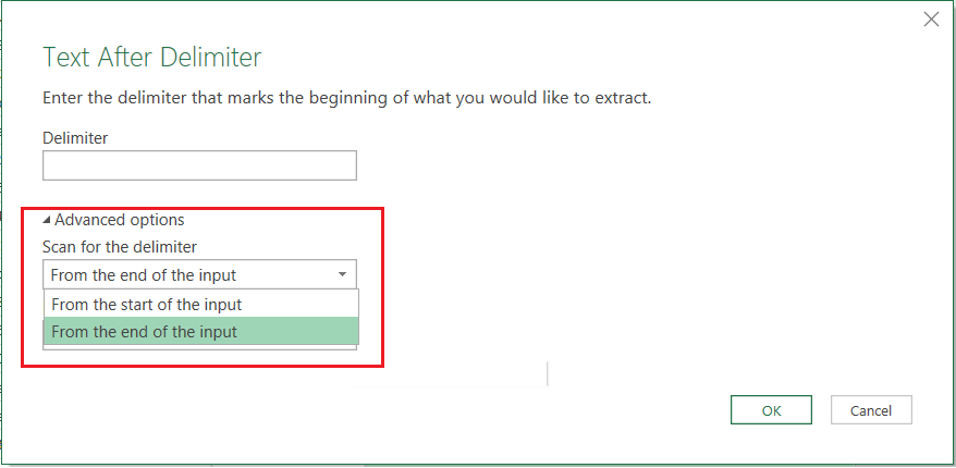 Power Query Extract tool