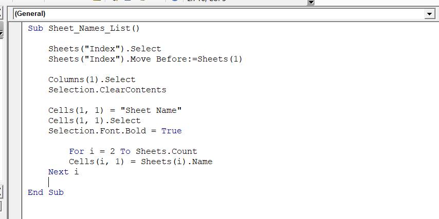 VBA код за съставяне на списък с имената на работните листове